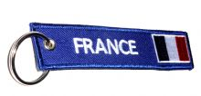 Embroidered 'FRANCE' Keyrings With French Flag